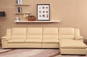 Cofonia Modern Nude Leather Corner Sofa