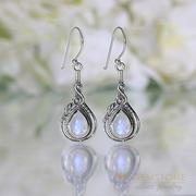 Moonstone Earring-Coral Delight